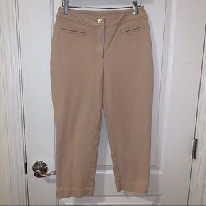 St John Tan Khaki Cropped Capri Pants Trousers